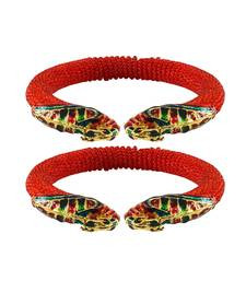 Buy Red  color Acrylic and Brass bangle bangles-and-bracelet online