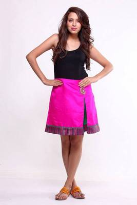 Ethnic Fusion Box Pleated A-line Skirt