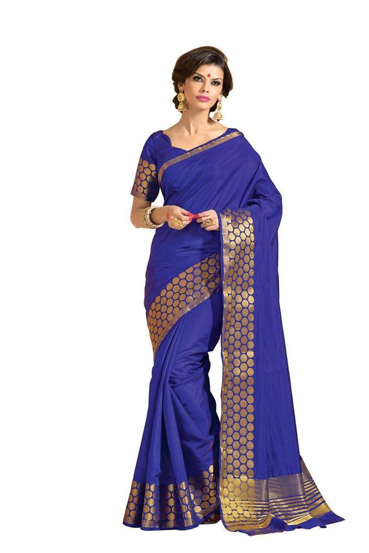 Buy Blue Zari Silk Saree With 2 Blouses Online
