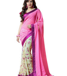 Buy Pink and off white printed art_silk saree with blouse half-saree online