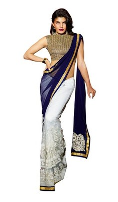Royal blue and off white embroidered georgette saree with blouse