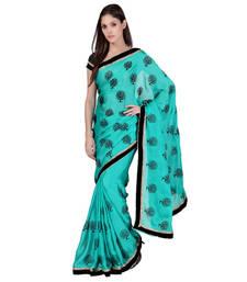 Buy Sky Blue printed chiffon saree with blouse ethnic-saree online