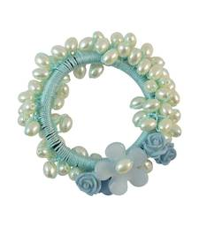 Buy Beads Blue Fabric Hair Rubber Band for Women rubber-hair-band online