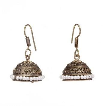 Silver Pearl Studded Jhumki