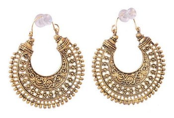 Gold Plated Oxidised Hoop Earring for Women
