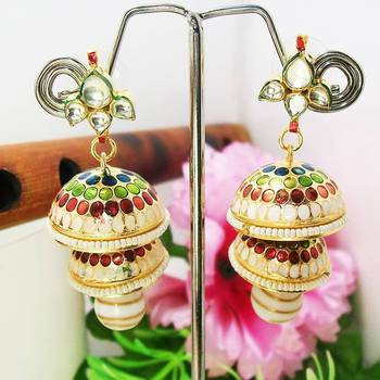 Meenakari Double Tokri Earring Green White Dots