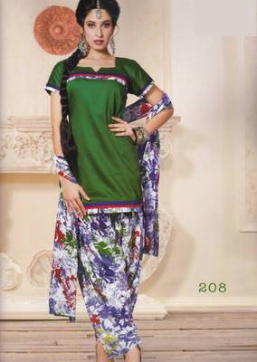 Dress material (printed) silk cotton with patiyala bottom unstitched d.no 208