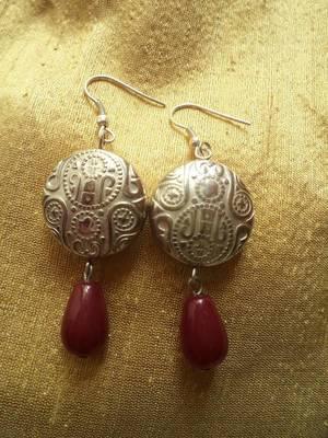 Red n Silver Earrings-020191