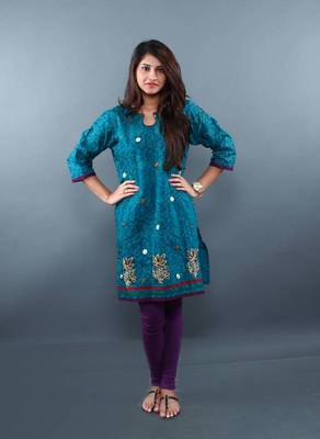Peacock Green Gold Embroidered Kurti