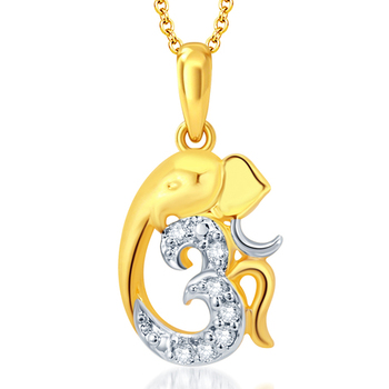 Gorgeous Gold and Rhodium Plated CZ Om Ganesha God Pendant With Chain