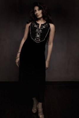 Black Velvet Embroidered Kurti