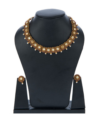 High Gold Polish Brass Choker Set with Pearls