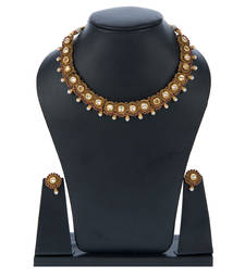 Buy High Gold Polish Brass Choker Set with Pearls necklace-set online