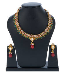Buy Maroon High Gold Polish Flower Studed Design Brass Choker Set necklace-set online