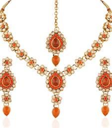 Buy Moddish  Gold plated Australian Diamond Stone  Necklace Set necklace-set online