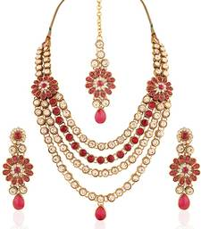 Buy Splendid Gold plated Australian Diamond Stone  Necklace Set bridal-set online