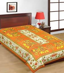 Buy Jaipuri Orange Color Traditional Horse Design Pure Cotton Single Bedsheet bed-sheet online