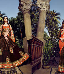 Buy Orange and Chocolate Brown embroidered viscose saree with blouse heavy-work-saree online