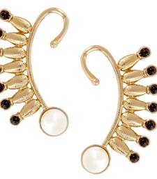 Buy Spike 18K Gold Plated Black Spinel Pearl Ear Cuff Pair for Women Earring online