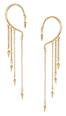 Gothic Spike 18K Antique Gold Plated Tassel  Ear Cuff Pair for Women