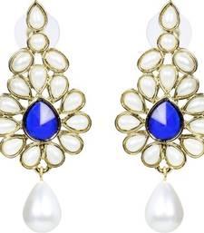 Buy Dangling Flower Gold Plated Pearl Blue Earring for Women danglers-drop online