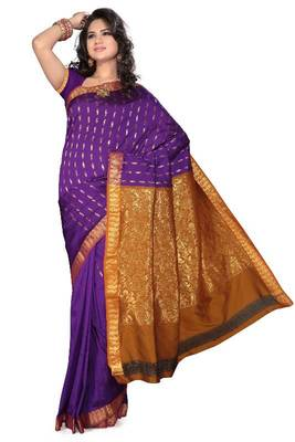 ISHIN Poly Cotton Violet Golden Saree-STCS-05
