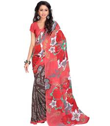 Buy Multicolor printed georgette saree with blouse traditional-saree online