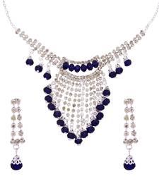 Buy Designer Blue Color Fantastic Necklace Sets With Earrings necklace-set online