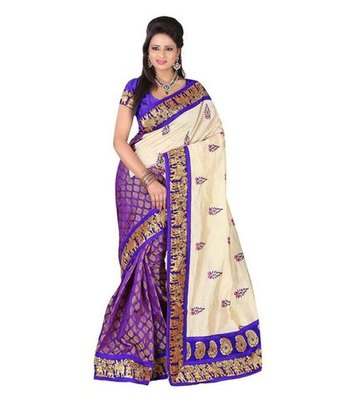 Purple embroidered chanderi saree with blouse