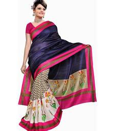 Buy Blue printed cotton_silk saree with blouse below-500 online