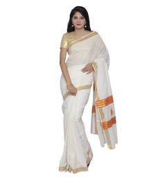 Buy Off-white embroidered cotton saree with blouse kerala-saree online
