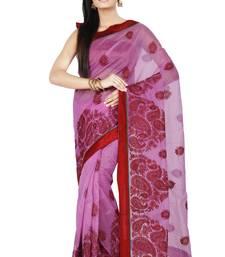 Buy Lavender embroidered Supernet saree with blouse supernet-saree online