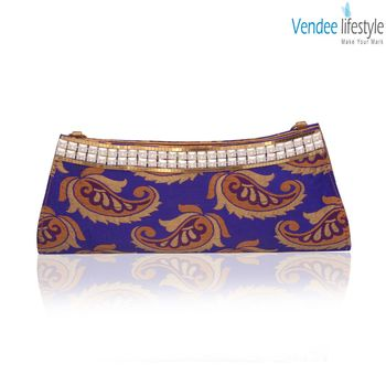 Vendee Lifestyle Blue Indian Party Clutch Handbag (7340)