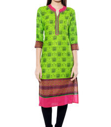Buy Green printed  Cotton  kurtas-and-kurtis long-kurti online