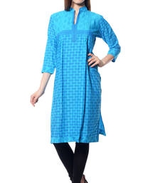 Buy Turquoise printed  Cotton  kurtas-and-kurtis long-kurti online