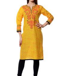 Buy Yellow printed  Cotton kurtas-and-kurtis long-kurtis online