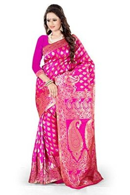 pink plain art_silk saree with blouse