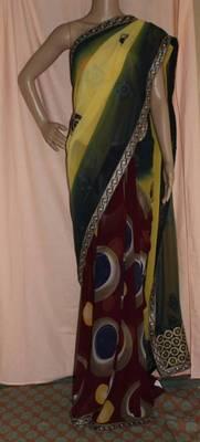 Yellow half and half printed chiffon saree