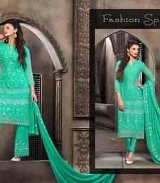 Buy Green embroidered chiffon semi stitched salwar with dupatta palazzo online