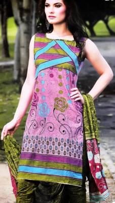 Cotton Dress Material With Chiffon Dupatta Unstitched Suit D.No 2542