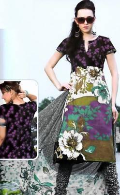 Cotton Dress Material With Chiffon Dupatta Unstitched Suit D.No 2560