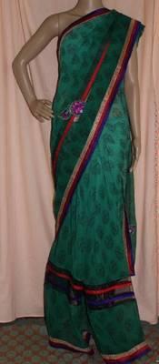 Green printed rayon saree