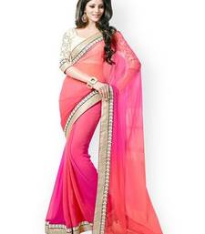 Buy Bikaw Embroidered Pink And Orange Georgette Traditional PartyWear Saree. traditional-saree online
