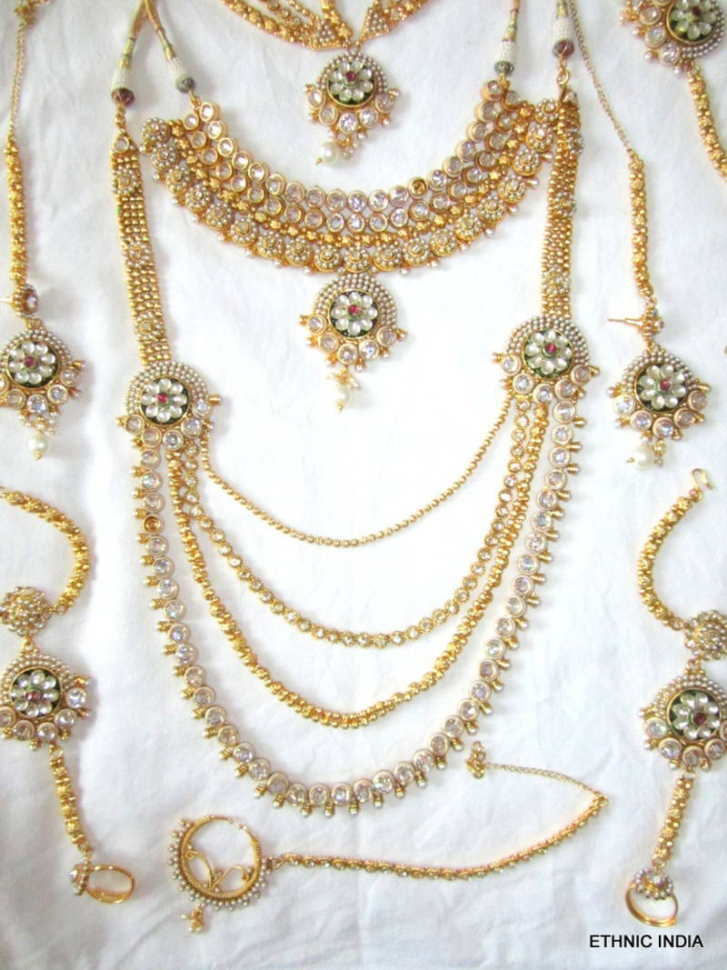 Buy GOLD PLATED PEARL KUNDAN BRIDAL DULHAN NECKLACE EARRING SET Online