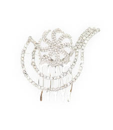 Buy Silver Tone Floral Crystal Comb pin hair-accessory online