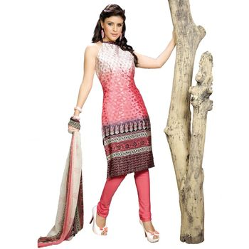 Fabdeal Pink & White Colored Crepe Jacquard Party Wear Printed Dress Material