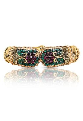Just Women Traditional Kada with Multi color Semi precious crystals
