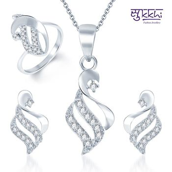 Sukkhi Traditional Rhodium Plated CZ Pandent Set and Ring Combo