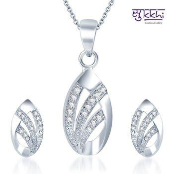 Sukkhi Exotic Rodium plated CZ pendants Set