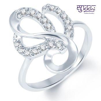 Sukkhi Youthful Rodium plated CZ Studded Ring